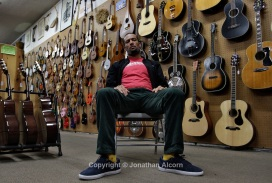 "Musician Ben Harper poses at his family's music store ""Folk Music Center"" in Claremont, California, on December 8, 2012. ©Jonathan Alcorn/JTA"